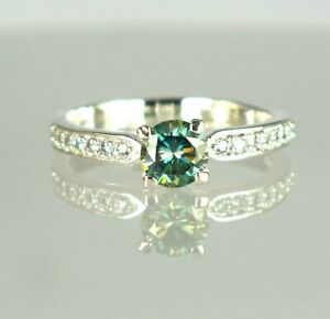 2.89 Ct Green Diamond Solitaire Halo Ring-Free Certificate Of Authenticity