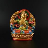 11.5CM Tibetan Buddhism Resin Hand Painting Manjuist Kwan-yin Guan Yin Statue