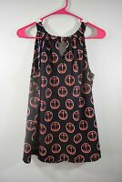 Outback Red Size Medium Womens Blouse Sleeveless Anchor Print Shirt Top