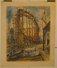 """SCARCE VINTAGE 1942 GEORGE PICKEN """"BUILDING THE SHIP"""" for WORLD WAR 2 SERIGRAPH"""