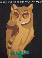 VINTAGE GOUACHE PAINTING OWL NATURAL SCIENCE MUSEUM POSTER