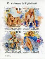 Togo Famous People Stamps 2019 MNH Brigitte Bardot Celebrities 4v M/S
