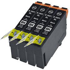 4 Compatible E1631 Black Ink jet Printer Cartridges, For No 16 16XL T1621 T1631