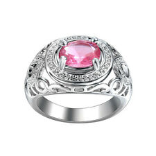 Women Fashion Jewelry 925 Silver Pink Sapphire Engagement Wedding Ring Size 7