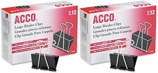ACCO Binder Clips Large 12 Count Efficient Triangular Design Durable Pack of 2