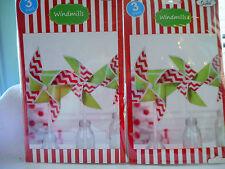 6 LARGE RED & GREEN,CHRISTMAS WINDMILLS/ PINWHEEL TABLE DEC