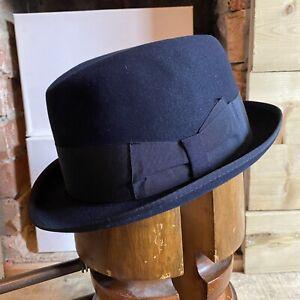 Vintage Borsalino Fedora Trilby Hat Blue EU 57 UK 7 US 7 1/8