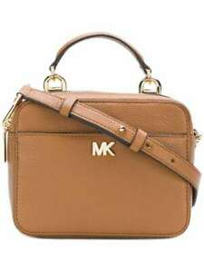 100% Authentic Michael Kors Mott Mini Pebbled Leather Crossbody Bag Tan BNWT