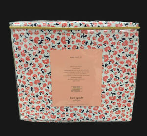 KATE SPADE FLORAL CORAL QUEEN SHEET SET FRENCH COUNTRY SHABBY COTTAGE COTTON 💯%