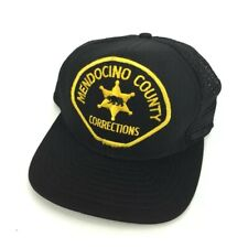 Vintage Mendocino County Corrections Trucker Hat Cap Black Gold Police Stitched
