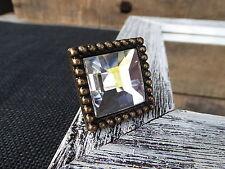 Elegant Square Rhinestone Glass Facet Cut Antique Bronze Metal Knob Drawer Pull