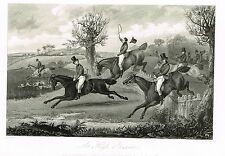 "Sporting Review's  - ""AT HIGH PRESSURE"" by Alken - Steel Engraving - 1844"