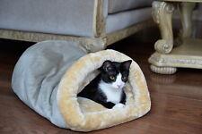 Armarkat Plush Cat Kitten Pet Cave Bed Machine Washable Sage Green Beige