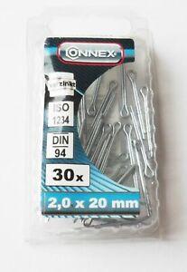 30 Splinte, verzinkt, Sicherungssplint, 2,0 x 2,0 mm, Splint Nr. 4400001/3279 w1