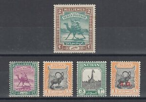 Sudan Sc 10, 31, 98, 100, O44 MLH. 1891-1951 issues, 5 different, fresh, sound