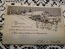 Vintage Art Deco Era Christmas Greeting Card Merry 1930s Signed Tree Chopping