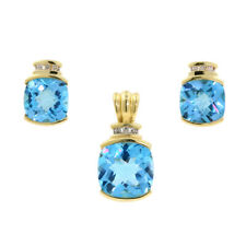 Modern Contemporary 10k Yellow Gold Aquamarine & Diamond Earrings & Pendant Set