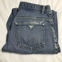 Vintage Guess Denim Jeans Mens 34 x 34 Distressed Worn Green Triangle