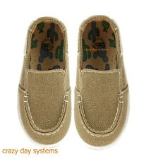 Wonder Nation Khaki Slip On Casual Boat Moccasin Shoes Size 3 Baby Boys NWT
