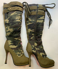 Leg Avenue Camo Camouflage High Heeled Boots Costume Wear Size 8