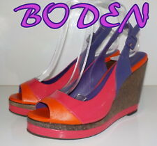 "Fabulous""BODEN"" Patent Leather Sandals Wood Wedges Shoes  UK 7   EU 40  £90"
