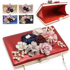 Fashion Women Flower Diamond Pearl Wedding Bride Evening Clutch Shoulder Handbag