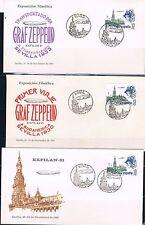 España. Tres sobres diferentes con sellos y matasellos Graf Zeppelin