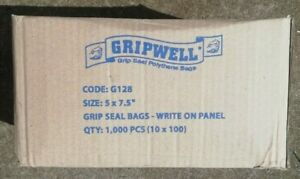 """5"""" x 7.5"""" WRITE ON PANEL GRIP SEAL CLEAR BAGS RESEALABLE POLY PLASTIC BAG"""