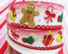 10 yard Candy Cane/Gingerbread/Jingle Bell Christmas Grosgrain 7/8 Ribbon RYC-20