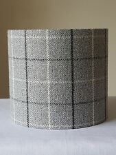 HANDMADE 20cm FABRIC DRUM LAMPSHADE PENDANT HIGHLAND CHECK Grey Country Cottage