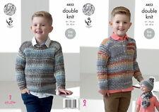 King Cole Boys Sweater Hat & Scarf DK Yarn Knitting Pattern 4453
