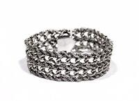 Estate Vintage Sterling Silver Thick Massive Link Chain Bracelet