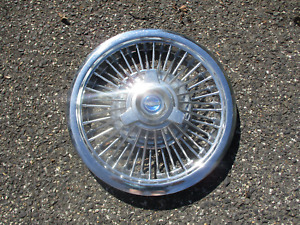 One 1965 1966 Ford Galaxie HIPO 15 inch wire spoke spinner hubcap wheel cover