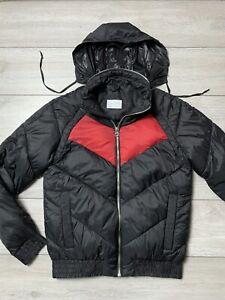 Mens ZARA MAN Tuck Away Hood Puffer Jacket Size Large L | Black