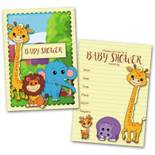 20 Baby Shower Cards and 20 Envelopes 'Jungle'