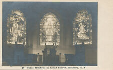 Roxbury NY *3 Stained Glass Windows in Gould Church RPPC ca 1905 Delaware Co.