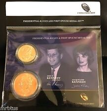 2015 JOHN F KENNEDY + JACQUELINE $1 Coin + First Spouse Medal Set JFK  + JACKIE