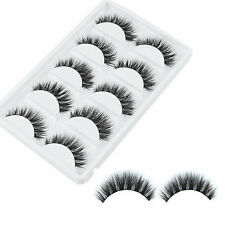 100% Mink 5 Pairs -Pro Makeup Natural Thick Eyelashes False Eye Lashes Extension
