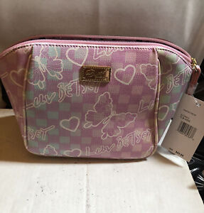 Betsey Johnson Printed Top Zip Pink Butterfly Print Cosmetic Case with Strap NWT