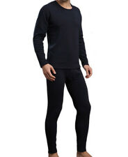 Mens Winter Ultra-Soft Fleece Lined Thermal Long John Underwear Set Black XL