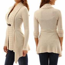 UK Womens Long Sleeve Knitted Sweater Jumper Ladies Knitwear Tops Cardigan Coat Khaki 12