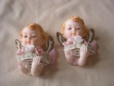 2 Vintage Porcelain Handpainted Tilso Japan Wall Hanging Angels, Cupids