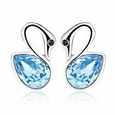 Silver Plated Rhinestones Blue Crystal Goose Stud Earrings Animal Gift Box F14