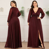 Ever-Pretty US Plus Size V-neck Evening Prom Dress Split Wrap Cocktail Ball Gown