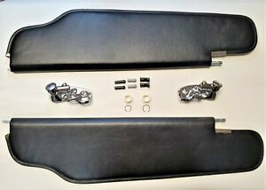 NEW 1963 Cadillac Buick & Oldsmobile Convertible Black Sun Visor & Bracket - Set