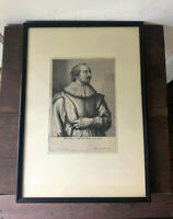 17th c Antique Framed Anthony VAN DYCK Portrait Engraving Etching -Peter Snayers