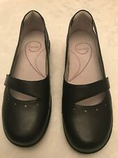 SANITA Mary Janes Women's Grain Leather Clogs Shoes Size 9-9.5 (40) Black EUC