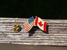 American & Canadian Flag Crossed US USA Canada Metal & Enamel Lapel Pin Pinback