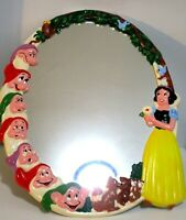 Vintage Disney Snow White and Seven Dwarves Oval Wall Mirror 20""