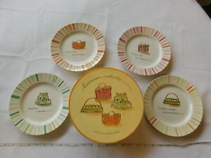"""Rosanna Accessories...Make the Woman Set of 4 Salad Plates 8 1/8"""" White Pre-owne"""